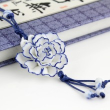 Hot handcraft blue white peony flower long necklace classic vintage pendant sweater chain jewelry birthday gift free shipping