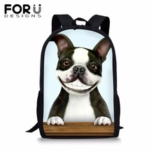 FORUDESIGNS Customize Image Dog Backpack for Teenage Girls Boys Cute Print School Bag Kids 16 inch Bookbag Student Mochila