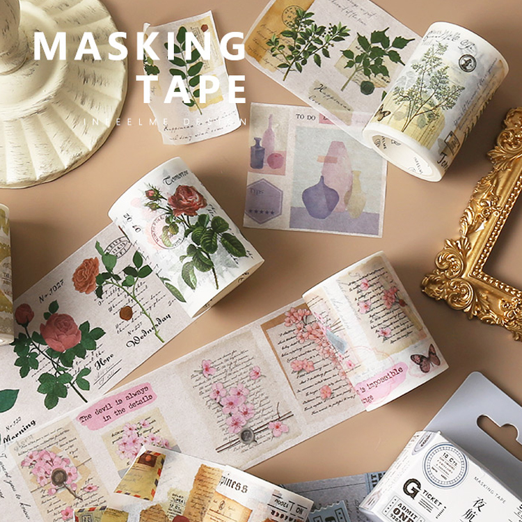 Vintage English Letter Ticket Flower Plants Note Washi Tape Scrapbook DIY Masking Tape School Stationery Bullet Journal Supplies