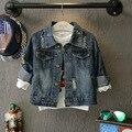 Niños Outwear Otoño 2016 de Los Bebés Chaquetas y Abrigos de Alta Calidad de Algodón Denim Ripped Jeans Coat Abrigos Niños Ropa 2-7años