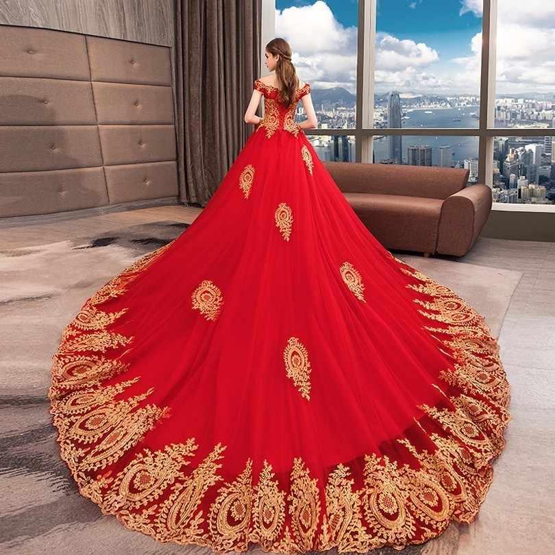Vestido De Noiva Плюс Размер красное свадебное платье Золотое кружевное свадебное платье принцессы бальное платье дубайское вечернее платье 2018 Robe De Mariee