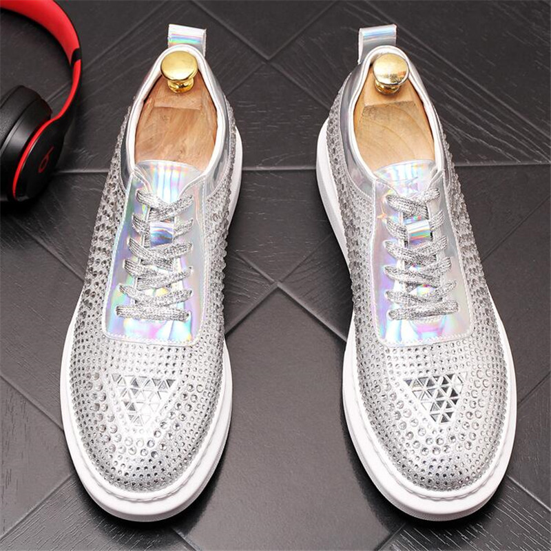 New Dandelion Spikes Flat Leather Shoes Rhinestone Fashion Mens Loafer Dress Shoes Men Casual Diamond Pointed Toe Driving Shoes 3
