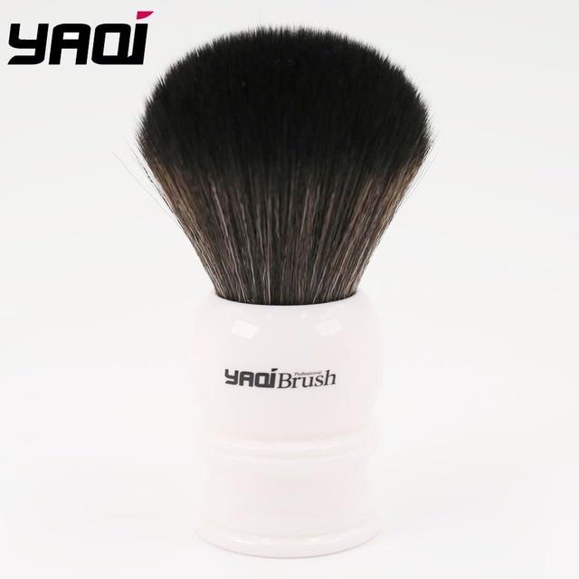 Yaqi 30 ミリメートルサイズノット白ハンドル黒人工毛シェービングブラシ
