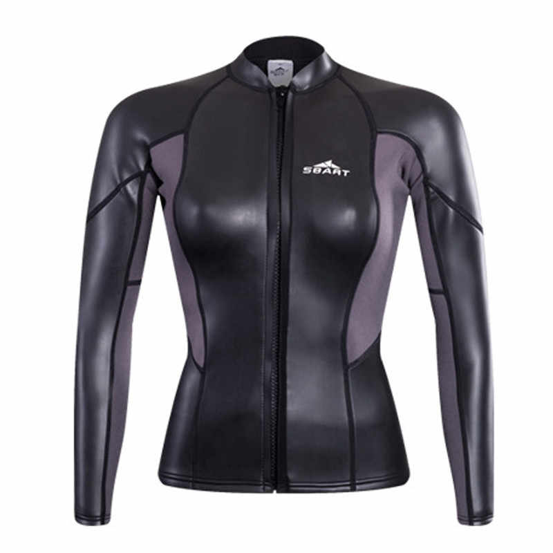 Sbart Women s 2mm Neoprene Wetsuit Top Cool Black Long Sleeve Diving Suit  Shirt Front Zipper Ladies 07fd3f937