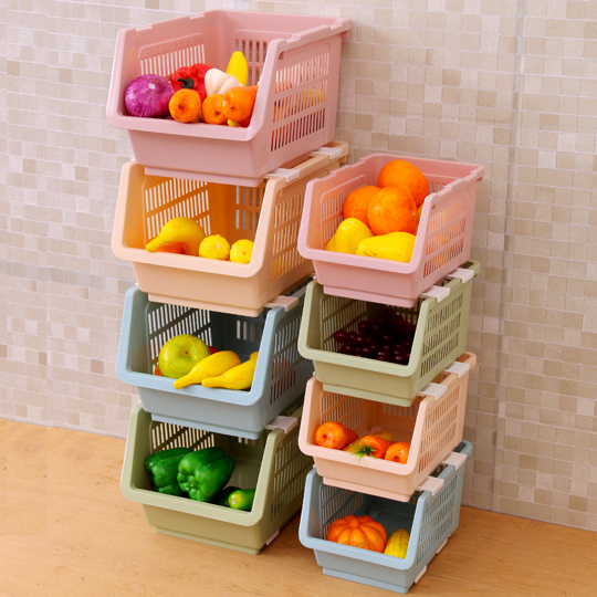 stacking plastic storage basket kitchen storage shelf. Black Bedroom Furniture Sets. Home Design Ideas