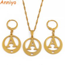 Anniyo A-Z Letters Necklaces Gold Color Initial for Women Girls Alphabet Pendant English Letter Jewelry #029121P(China)