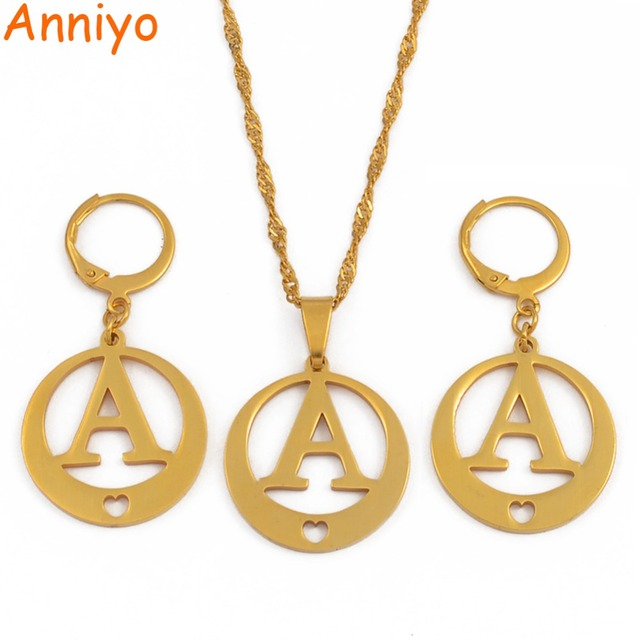 dbaffb9b7 Anniyo A-Z Letters Necklaces Gold Color Initial for Women Girls Alphabet  Pendant English Letter Jewelry #