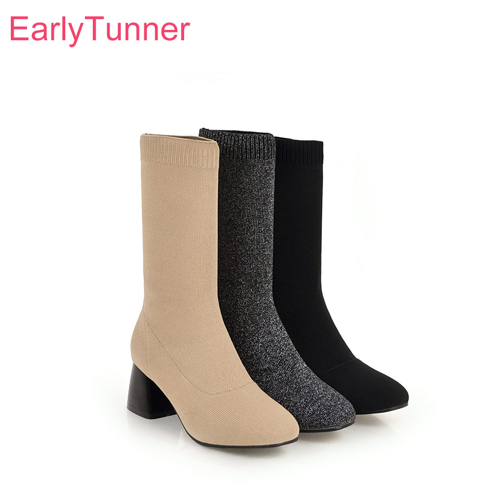 Hot Sale 2018 Brand New Winter Glamour Knitting Beige Gray Women High Heels Suede Red Dress Boots Lady Mid Calf Shoes Chunky Ea11 Plus Big Size 10 43
