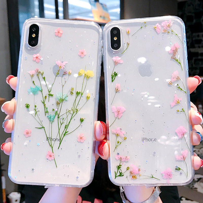 Shining Beautiful Dried Flowers Soft Bling Phone Case For IPhone X XS XR XS Max 6 6S 7 8 Plus Transparent Real Flower Back Cover
