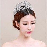 Vintage Oversize Rhinestone Bridal Tiara Wedding Hair Accessories Crystal Pageant Crowns Sweet Heart Shape Hair Jewelry
