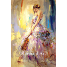 Hand-painted Dancing With a Violin Oil Painting High Quality Beautiful woman Living room decor On Canvas wall pactures