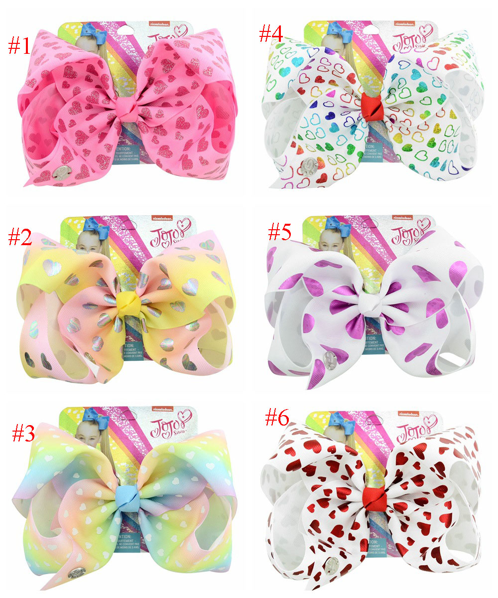 MengNa 1PC 8 JoJo Bows Large Rainbow Unicorn Bow-knot Print Grosgrain Ribbon Hair Bows With Clip Kids Handmade Hair Accessories