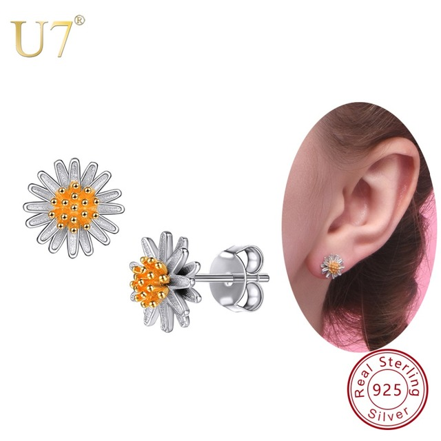 a4f464d19 U7 925 Sterling Silver Tiny Flowers Daisy Stud Earrings 2018 Valentine's  Day Gift For Women Sterling Silver Jewelry Earring SC29