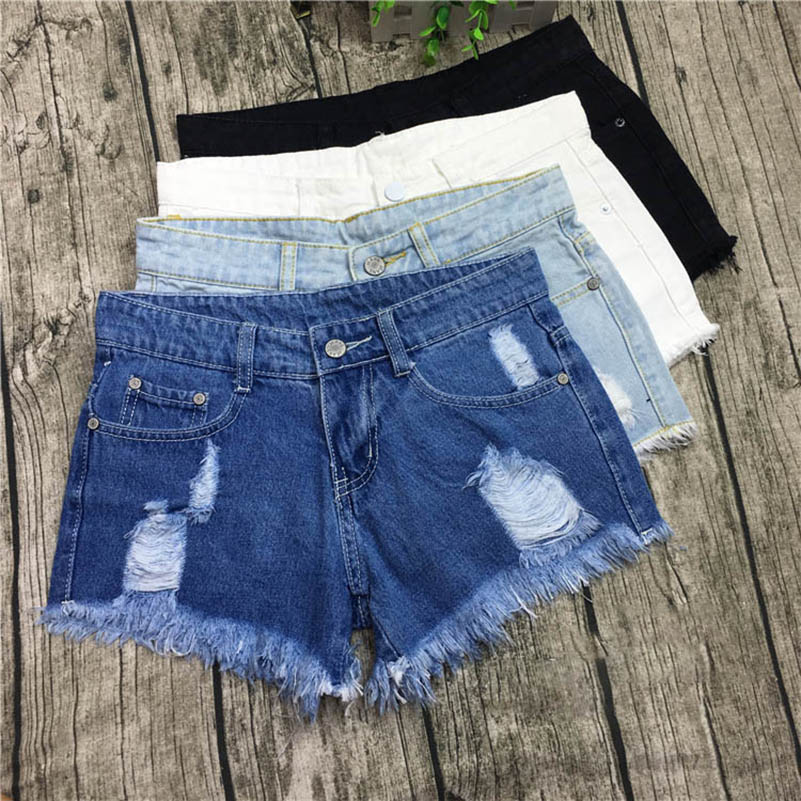 NiceMix 4 Colors Summer Denim Shorts Femme 2019 Vintage Ripped Hole Fringe Casual Short Jeans Feminino Girl Hot