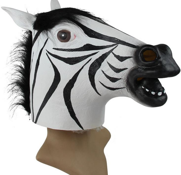 30pcs Horse Head Mask Realistic Latex Zebra Animal Halloween Party Masquerade Masks Full Face Adults Villain Joke Props