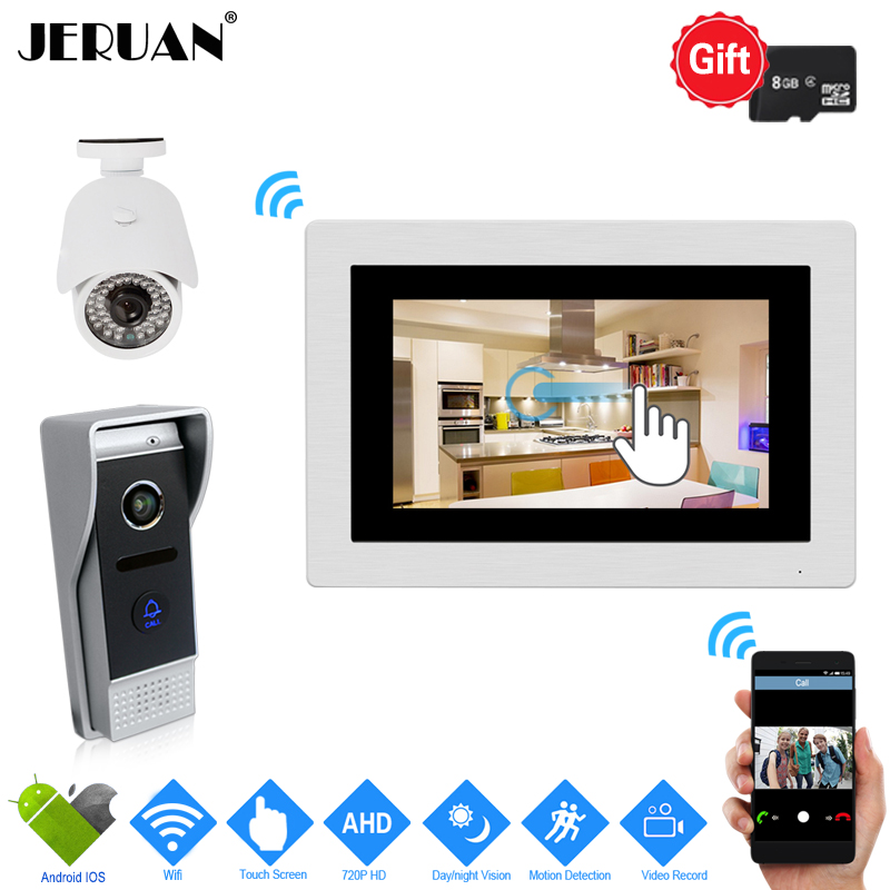 JERUAN 720P IP WIFI 7`` Touch Screen Video Doorbell Door phone Intercom System Kit Record Monitor+HD Camera Support Android IOS yobangsecurity wifi wireless video door phone doorbell camera system kit video door intercom with 7 inch monitor android ios app