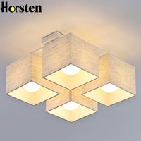 Horsten Nordic European Simple Fabric Ceiling Lights 4/6/9 Heads Bedroom Ceiling Lamp Modern Living Room Ceiling Light