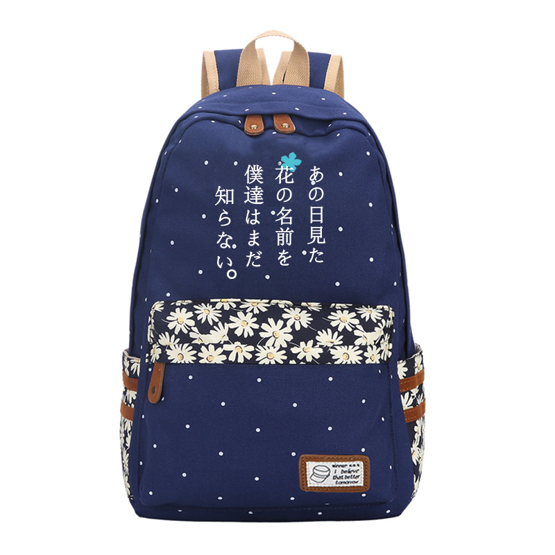 Anohana: The Flower We Saw That Day Shoulders Students Bag shoulder bags Kawaii Women Backpack Canvas School Bags for Teenagers