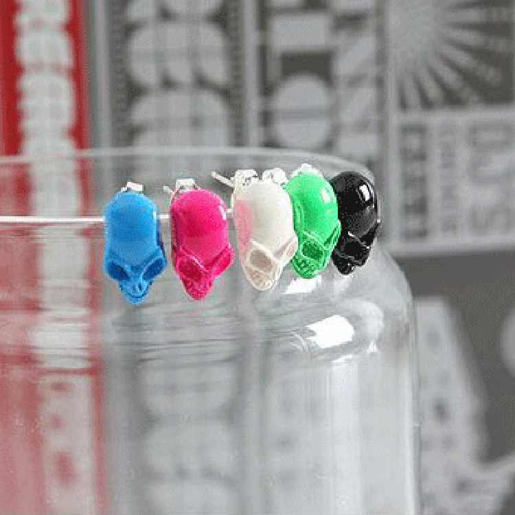 fashion colorful Sugar Skull glass cabochon women stud earrings men women day of the dead jewelry new holiday gifts