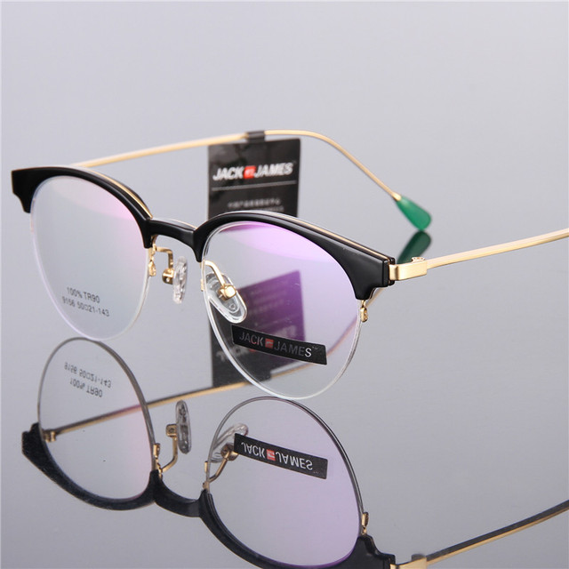a7002668c0 Fashion Retro Round Glasses Frame TR90 Glasses Men Women Half Frame  Prescription Glasses Optical Frame