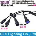 10 шт./лот 10 м длина IP65 Водонепроницаемый 3-контактный разъем подключения кабеля питания 3-контактный разъем для подключения сигнала DMX IP65 сиг...