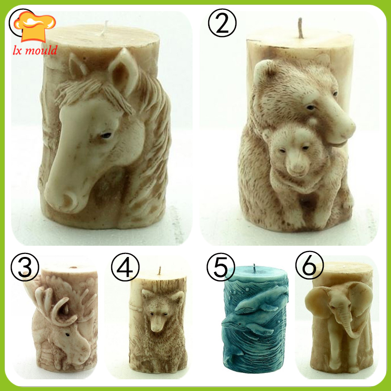 Elephant Cylindrical Candle Pattern Dolphin Candle Tool Bears Soap Mold Horse Shape Cake Dress Diy Candle Handmade Mold