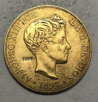1897 España 100 Pesetas-moneda de copia de 3 retrato de pokemon XII
