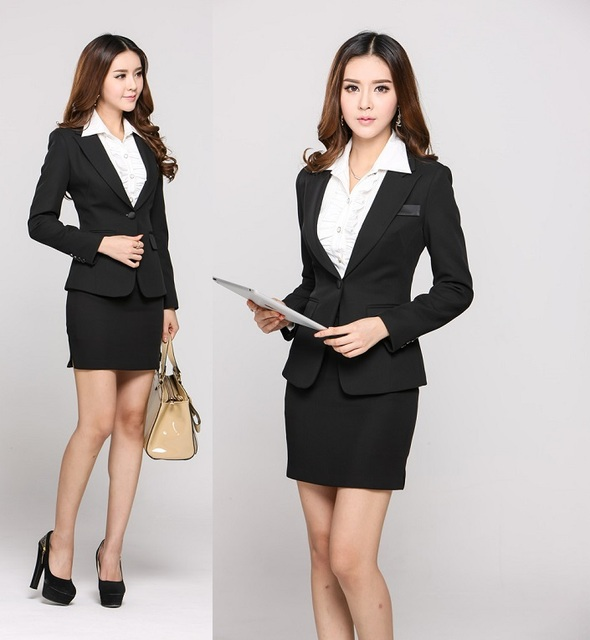 Fashion Uniform Styles Office Work Wear 2017 Autumn Winter Career Suits With Mini Skirt For Business