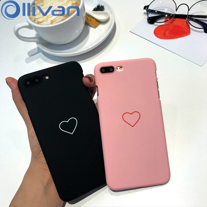20a3a5be09cd7 OLLIVAN Love Heart Couple Phone Case For iPhone 6 6s Plus Cute Candy Pink  Color For iPhone 7 8 Plus X Case Hard PC Smile Coque