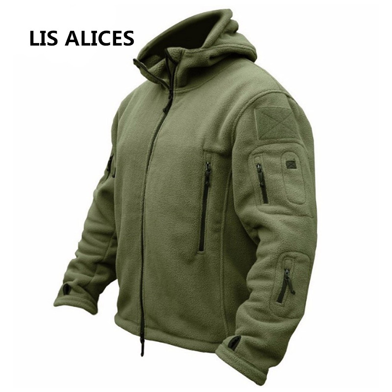 LIS ALICES Winter Military Fleece Jacket Warm Men Tactical Jacket Thermal Breathable Hooded Men Jackets  Coat Outerwear Clothes