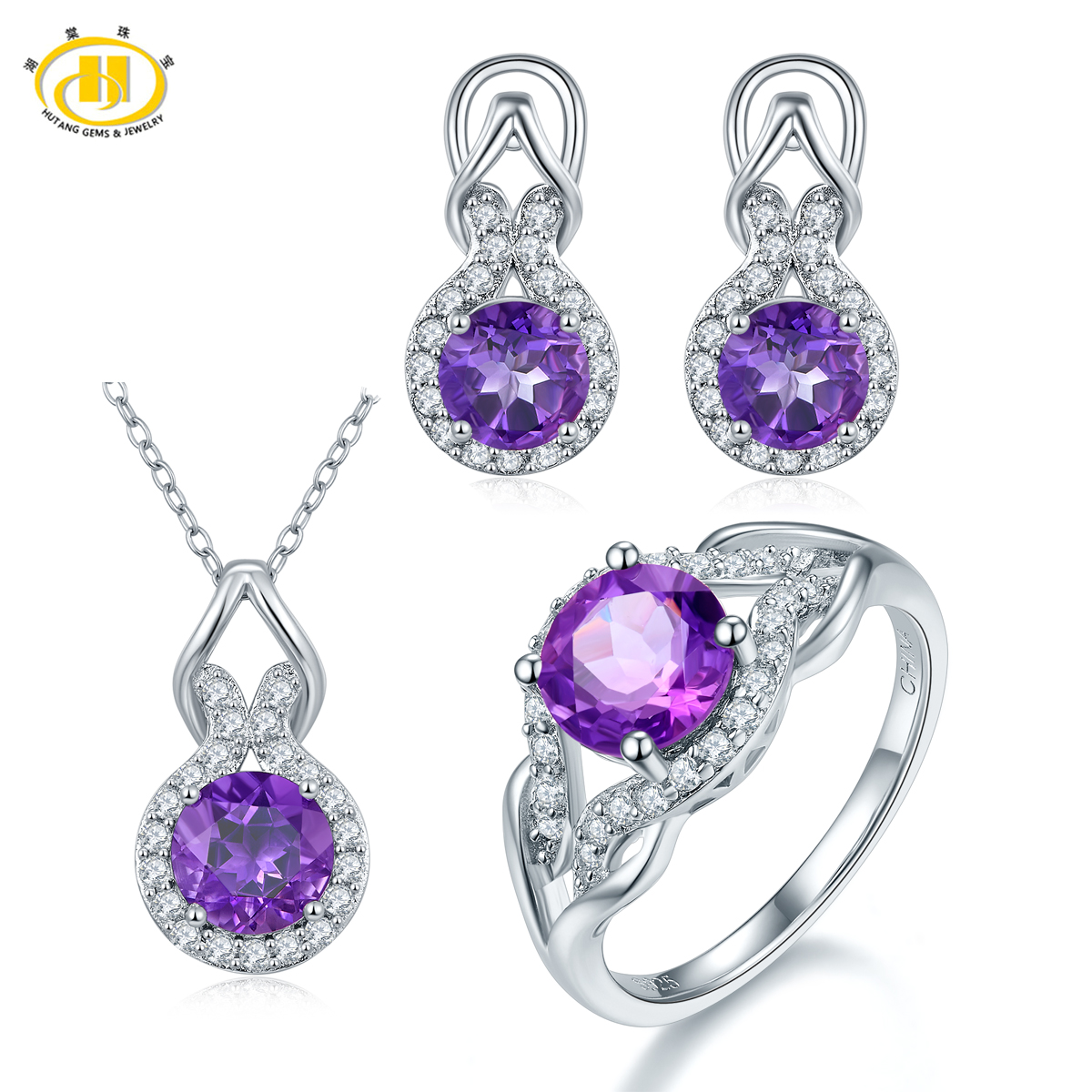 Здесь продается  Hutang Natural Amethyst Solid 925 Sterling Silver Jewerly Sets Earrings Pendant Ring Gemstone Fine Jewelry High Quality 2017  Ювелирные изделия и часы
