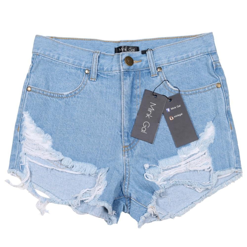 Aliexpress.com : Buy Mink Gal High Waisted Denim Shorts Destroyed ...