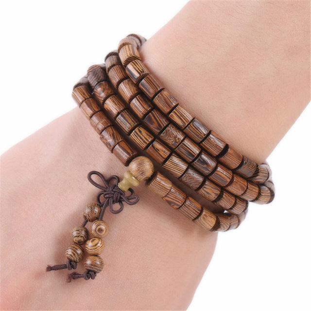 Prayer Beads 108 Tibetan Buddhist Cylindrical Bracelet Men Wooden Jewelry Accessories Mala Charm Bracelets Bangles