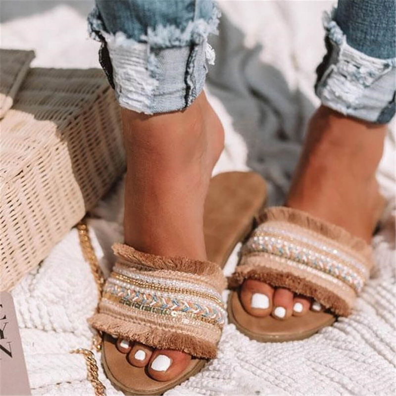 Женские шлепанцы; Новинка 2019 года; Летние римские сандалии в стиле ретро; повседневная обувь на плоской подошве; женские шлёпанцы; женская обувь; большие размеры; Sandalias mujer