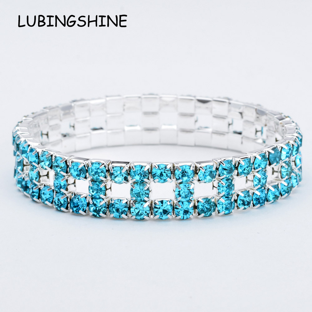 Romantic Wide Silver Blue Crystal Bracelets&Bangles For Women Rhinestones Elastic Bracelet Wristband Pulseras Wedding Jewelry