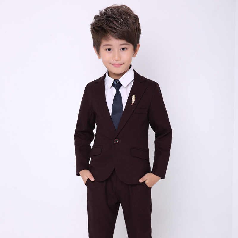 Комплект свадебной одежды с цветочным принтом для мальчиков; детский деловой костюм; блейзер для мальчиков; брюки; комплект из 2 предметов; Детский Школьный костюм для выпускного вечера