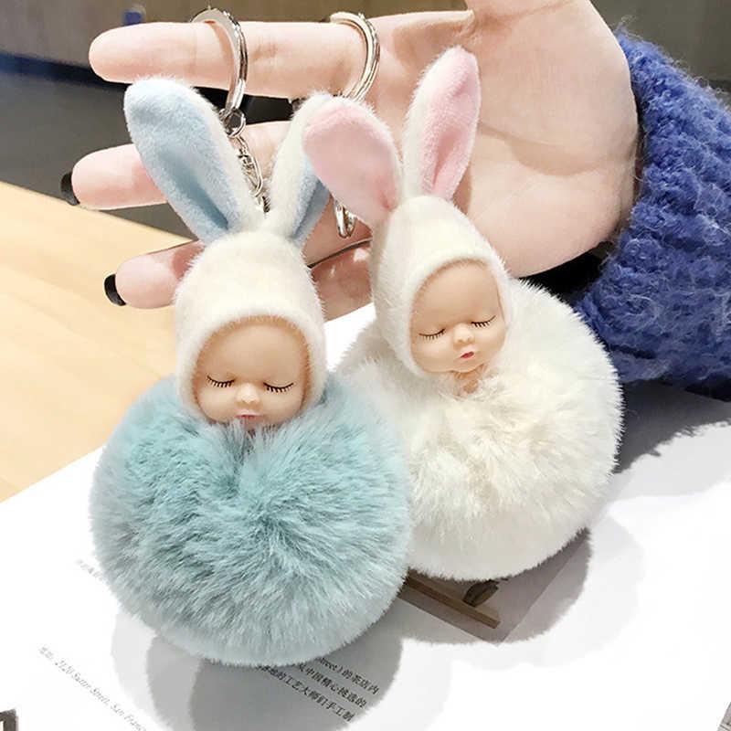 Bonito coelho pompom flush chaveiros para as mulheres adorável dormir bebê boneca chaveiro falso pele de coelho carro saco pingente chaveiro t