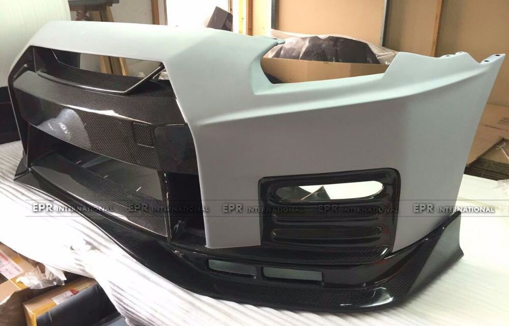 Car-styling For Nissan GTR R35 CBA DBA Portion Carbon Fiber Nismo Ver2 Style Front Bumper Glossy Fibre With Fiberglass Trim