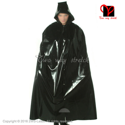 Sexy Latex cape met kap front knoppen Rubber Gewaad Gummi jas Bolero Top blazer plus sizeXXL DY-012