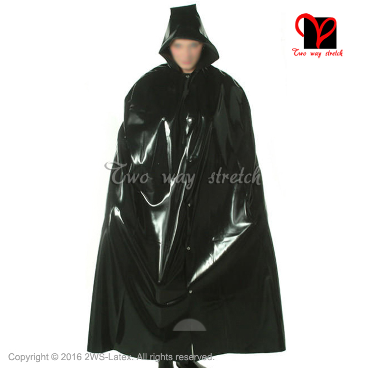 Sexy Latex Cape With Hood Front Buttons  Rubber Robe Gummi Coat Bolero Top Blazer  Plus SizeXXL DY-012