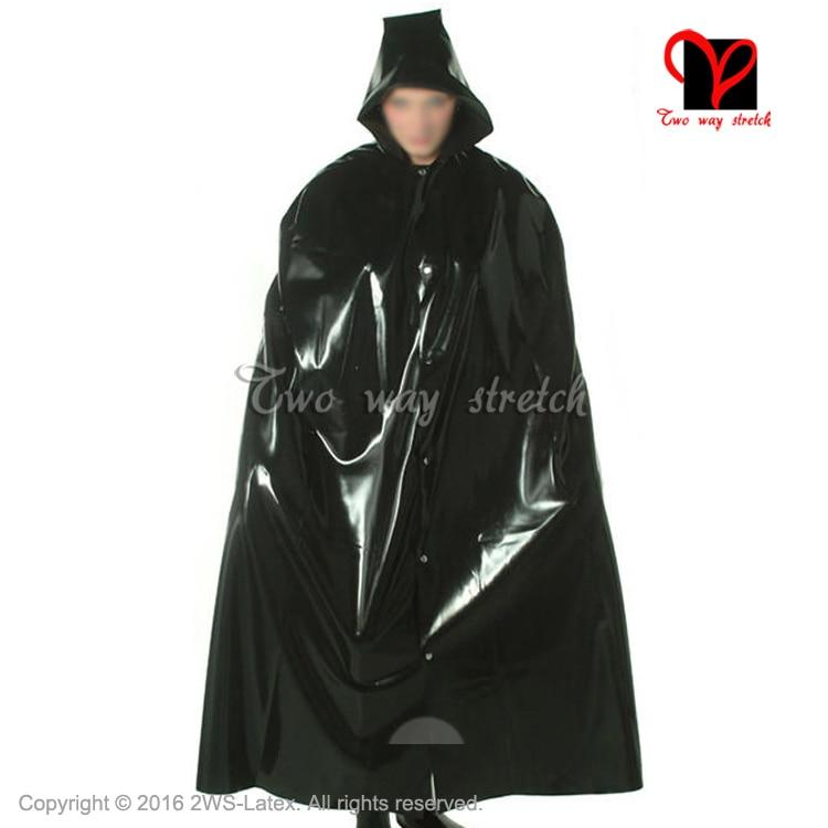 Sexy Latex Cape With Hood Front Buttons  Rubber Robe Gummi Coat Bolero Top Blazer  Plus SizeXXL DY-012