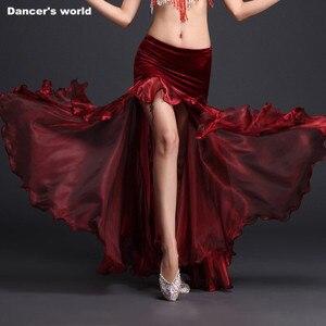 Image 3 - Rumba,Cha cha dance skirt girls belly dance clothes skirt luxury velvet  of skirt sexy fashion dress of women belly dance skirt