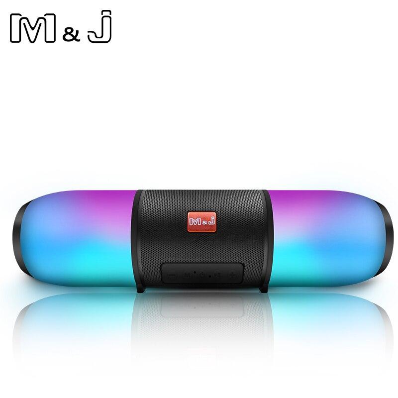 M & J красочные светодиодный свет bluetooth Колонка HIFI стерео, беспроводная, портативная с микрофоном руки Бесплатная поддержка TF FM USB Flash Subwoffer