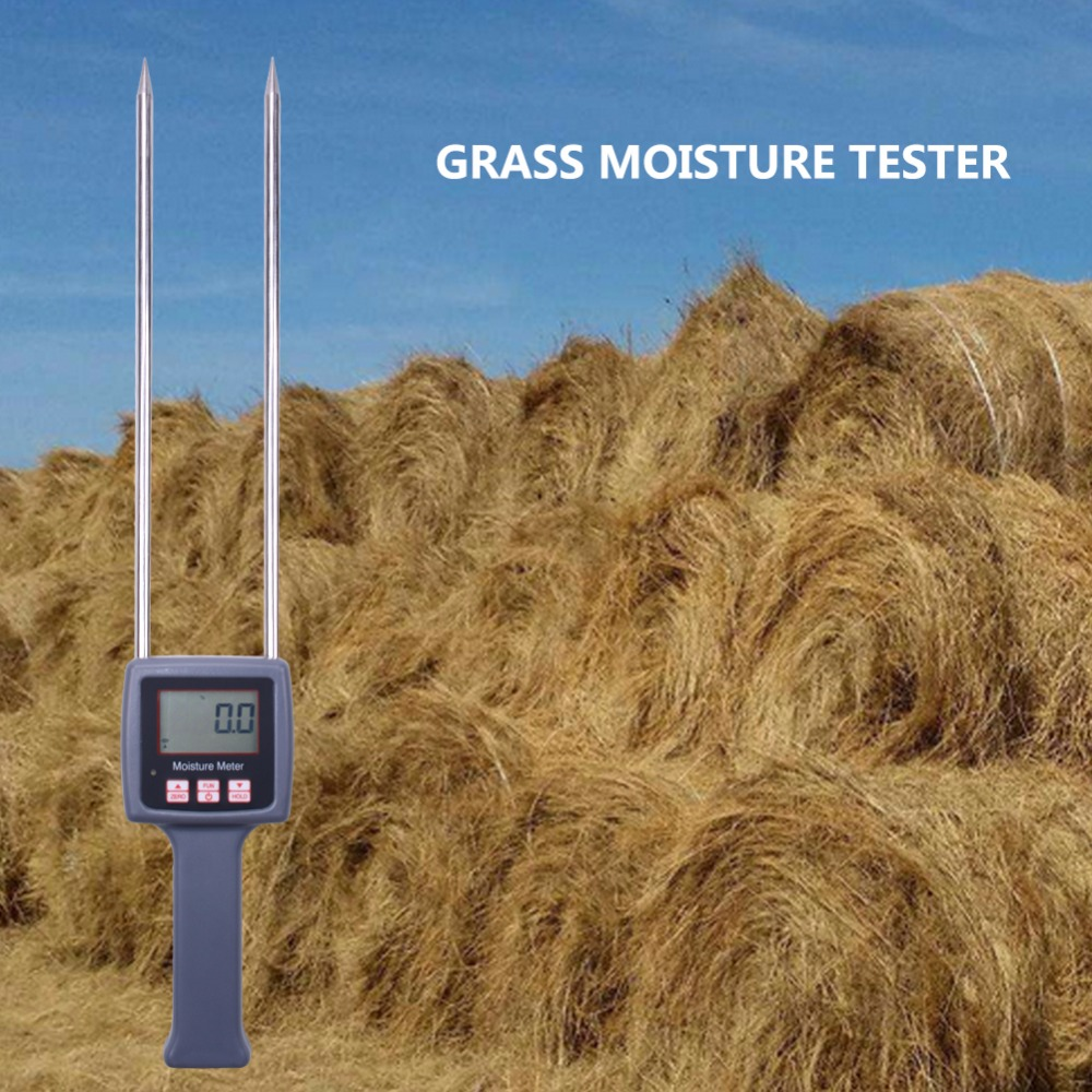 Portable Hay Moisture Meter for Forage grass Leymus chinensis Emperor bamboo grass testing fibre cereal straw