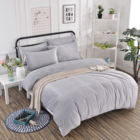 Thicken Winter Warm Flannel Velvet 4pcs Solid Gray Printed Bedding Set Suit Twin Queen King Bed