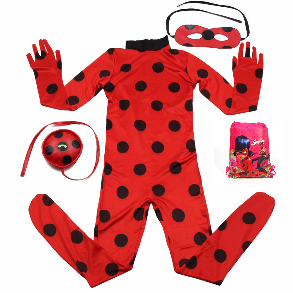 Ladybug Girl Costume Kids Marinette Cartoon Cosplay Second Skin Halloween Party costumes Suit Free Shipping