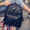 Venda quente Mulheres Rebites Mochila saco de escola de moda mochila casuais Mochila Escolar feminino mochila de viagem bolsas XD3869
