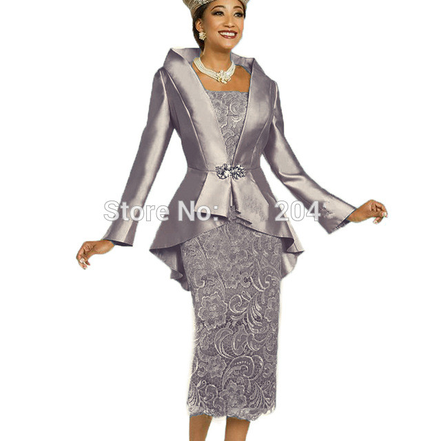Gray 2019 Mother Of The Bride Dresses Sheath Lace With Jacket Knee Length Short Wedding Party Dress Mother Dress For Wedding