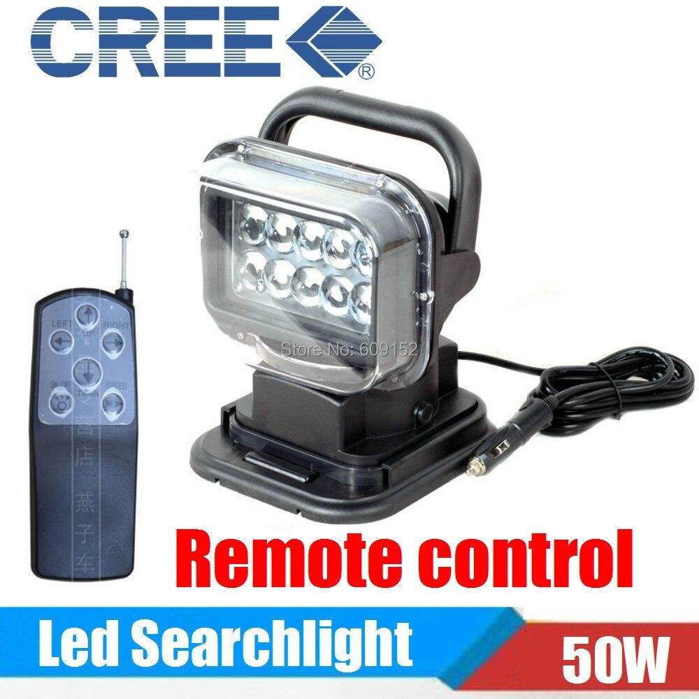 Wireless Remote 50W LED Spot Light Bar Search Light 10 30v Offroad LED Work Light External