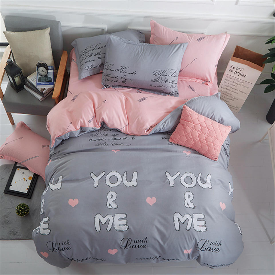 Bed Plug Winter Two Bed Duvet Cover Bed Sheet Set Grey Quilt Cover Pink Bed Clothes Cartoon Cat  Bedding Sets